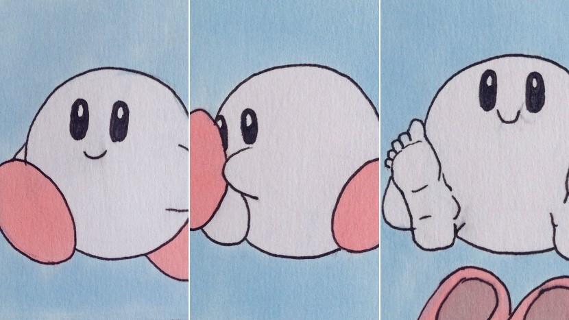 Kirby mit menschlichen Füßen ist der Stoff, aus dem Albträume sind